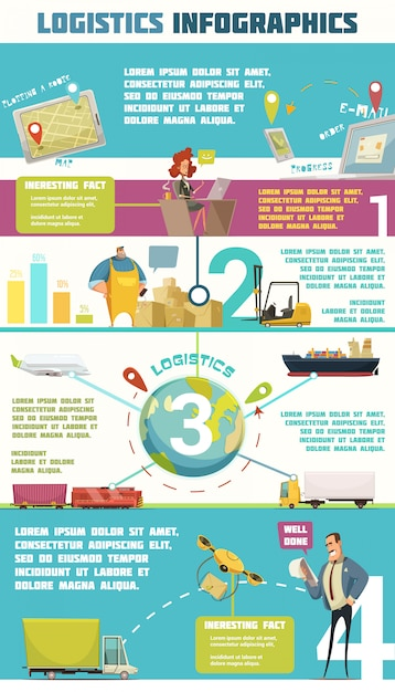 Logistics infographic set with cargo and warehouse symbols cartoon vector illustration Free Vector