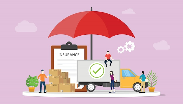 Premium Vector | Logistics insurance with some stack cardboard with big  umbrella cover
