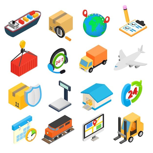 Logistics isometric 3d icons set Premium Vector