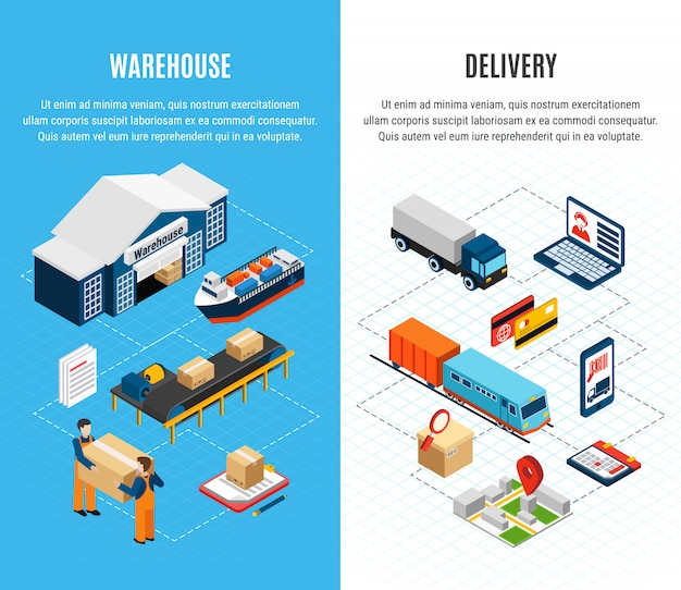 Logistics isometric horizontal banners with warehouse and delivery service on colorful 3d Free Vector