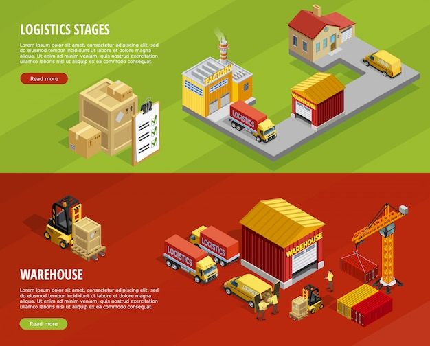 Logistics isometric horizontal banners Free Vector