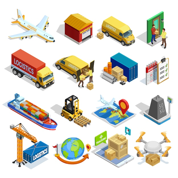 Logistics isometric icons set Free Vector