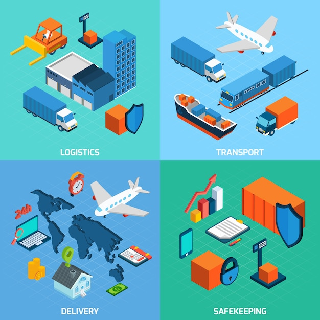 Logistics isometric set Free Vector