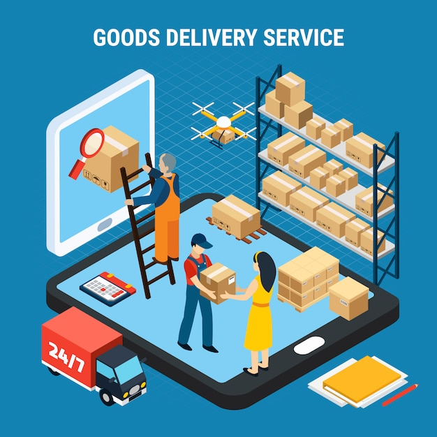 Logistics isometric with online goods delivery service workers on blue 3d illustration Free Vector