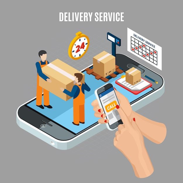 Logistics online delivery service with workers loading boxes 3d isometric illustration Free Vector