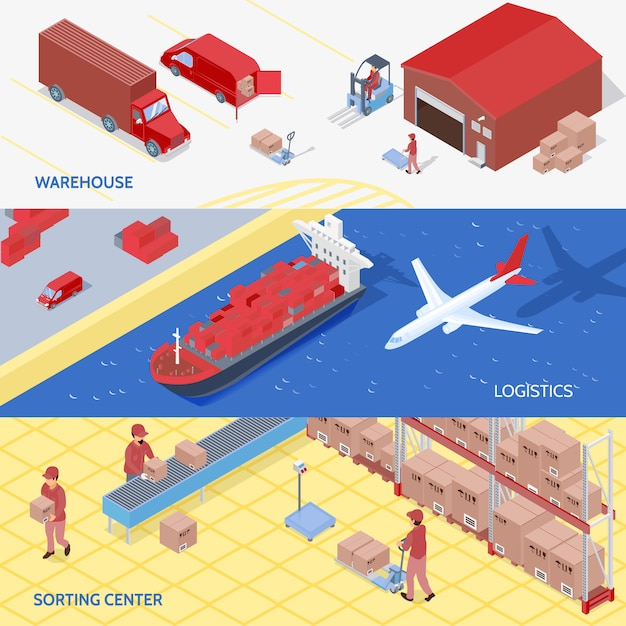 Logistics services isometric banners Free Vector