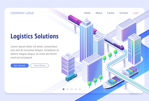 Logistics solutions isometric landing page. transport delivery company service, cargo import and export by ship, truck or train. land and river goods city transportation business, 3d web banner Free Vector