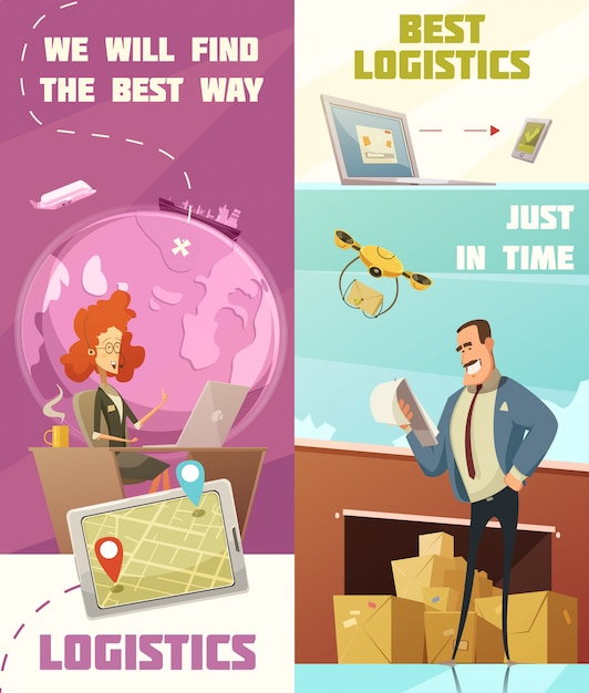 Logistics vertical cartoon banners set with cargo symbols isolated vector illustration Free Vector