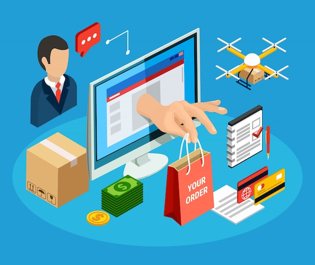 Logistics with online delivery service 3d isometric illustration Free Vector