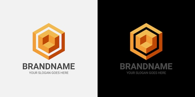 Logo 3d cube template Premium Vector