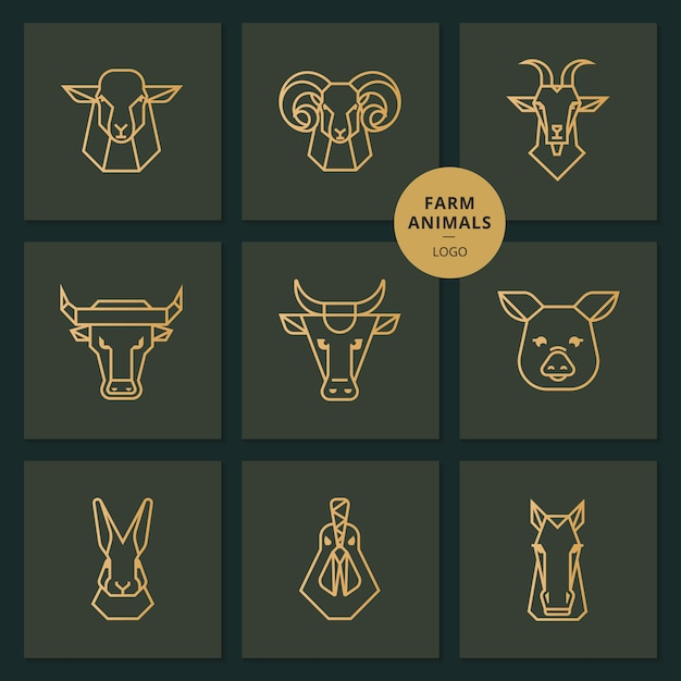 Logo of american food, large set of heads of farm animals Premium Vector