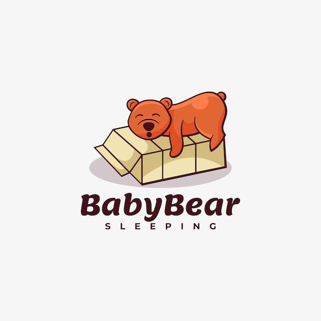 ロゴ赤ちゃんクマシンプルなマスコットスタイル。 Premiumベクター