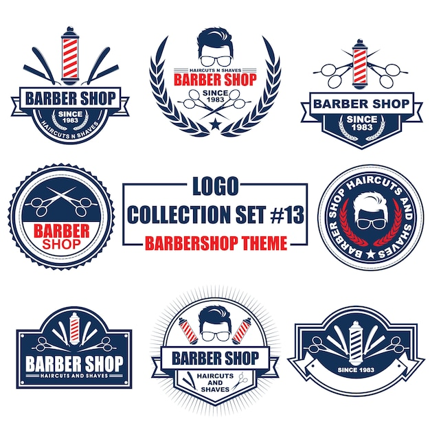 Logo, badge, symbol, icon, label template design collection set with barbershop theme Premium Vector