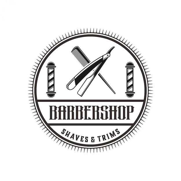 The logo for barbershop with vintage style Premium Vector