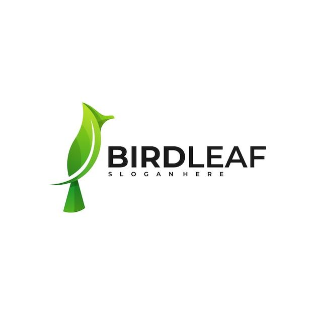 ロゴ鳥の葉のグラデーションカラフルなスタイル Premiumベクター
