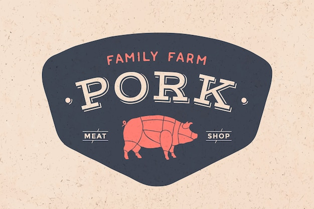 Logo of butcher meat shop with icon pig, text pork meat shop. logo graphic template for meat business - shop, market, restaurant or  - menu, poster, banner, sticker, label.  illustration Premium Vector