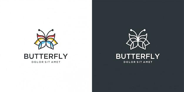 Логотип бабочка минималистичный вектор линии Premium векторы