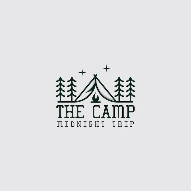 Logo of camp with line art Premium Vector