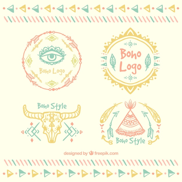 Logo collection in boho style Free Vector