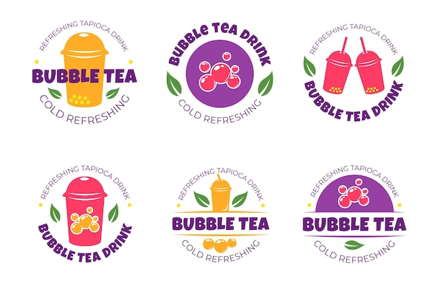Logo collection bubble tea Premium Vector