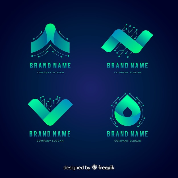 Logo collection in gradient technology style Free Vector