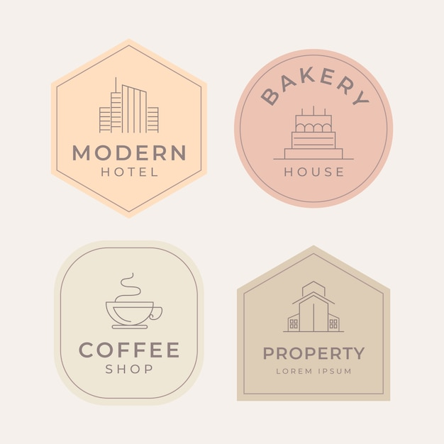 Logo collection minimal style Premium Vector