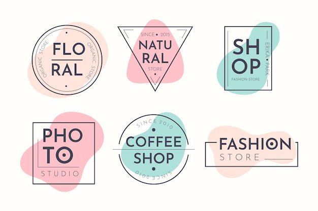 Logo collection in pastel colors Premium Vector