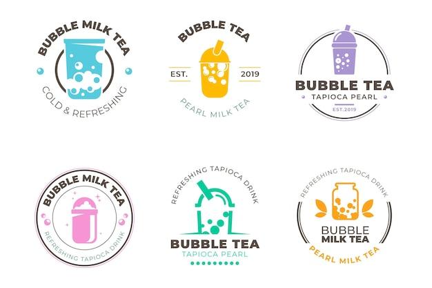 Logo collection style bubble tea Premium Vector