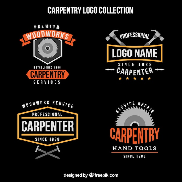 Logo collection of vintage woodworking Free Vector