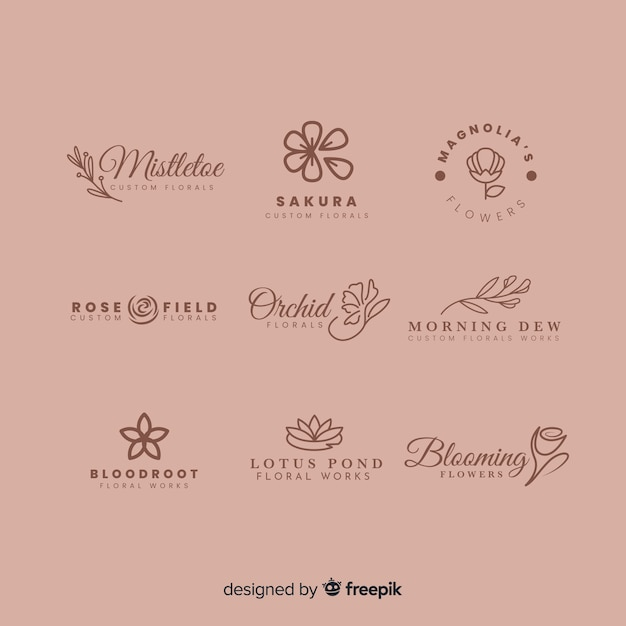 Logo collection for wedding florist Free Vector