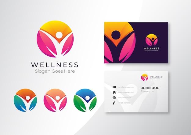 名刺デザインのロゴカラフルな健康とウェルネススパ Premiumベクター
