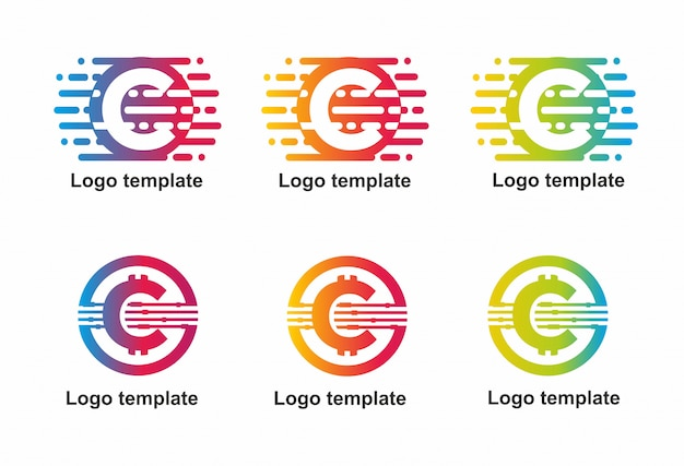 logo coloured curcus with letter c abstract vector premium download