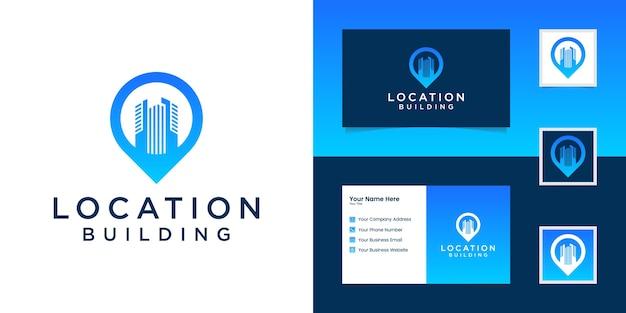 Сочетание расположения булавки с логотипом и создание вдохновения для создания визитной карточки Premium векторы