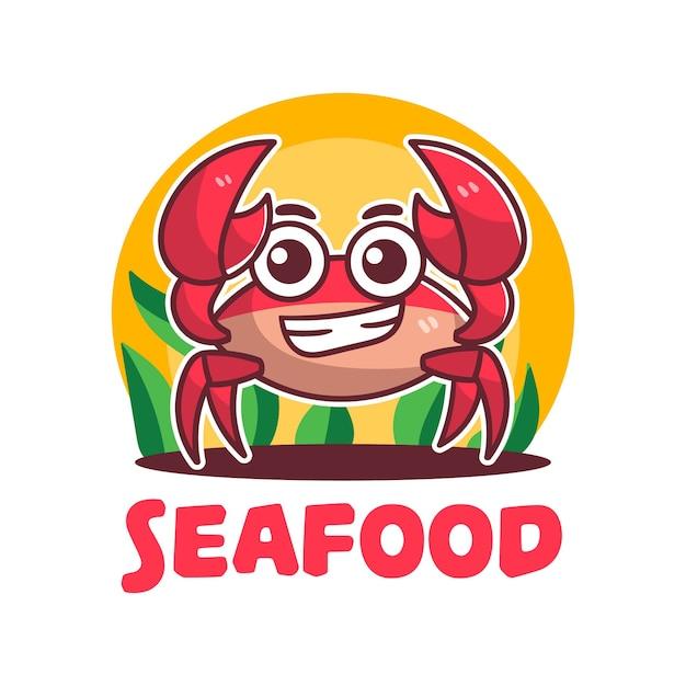 Logo cute seafood crabs mascot cartoon Premium Vector