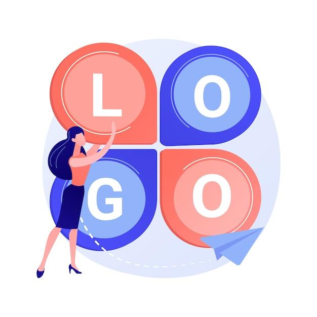Дизайн логотипа. создание слогана компании, фирменный брендинг, айдентика. графический дизайнер плоский персонаж, исследующий конкурентоспособную иллюстрацию концепции идеи логотипа Бесплатные векторы