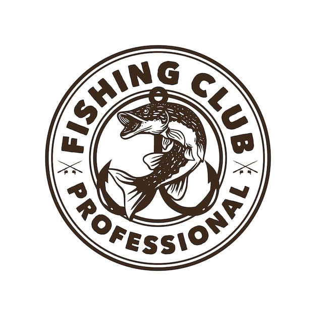 Logo design fishing club professional black and white with northern pike fish vintage illustration Premium Vector