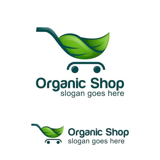 Logo design of green eco shop, organic food market logo symbol