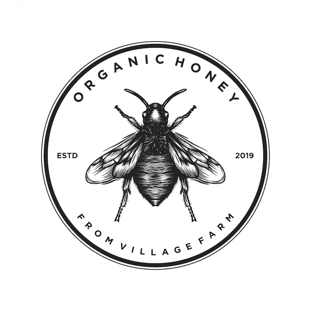 Logo design for honey products or honey bee farms Premium Vector
