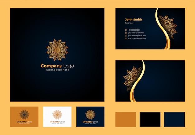 ロゴデザインのインスピレーション、豪華な円形の花のマンダラと葉の要素、装飾用のロゴが入った豪華な名刺デザイン Premiumベクター