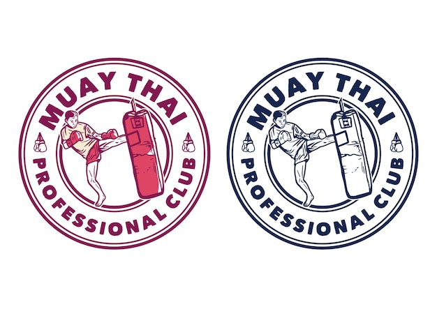 Logo design muay thai professional club with man martial artist muay thai kicking punching bag vintage illustration Premium Vector