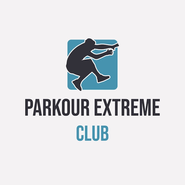Logo design parkour extreme club with silhouette man jumping simple Premium Vector