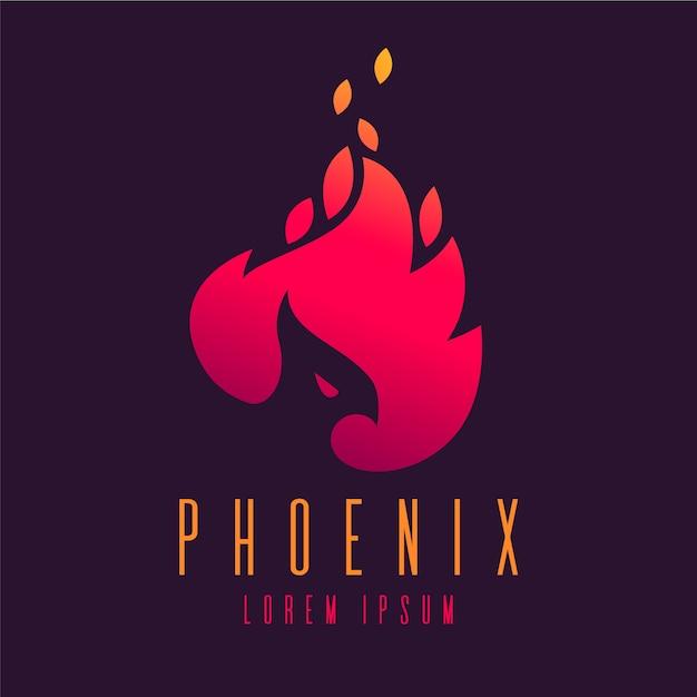 Logo design phoenix bird Premium Vector