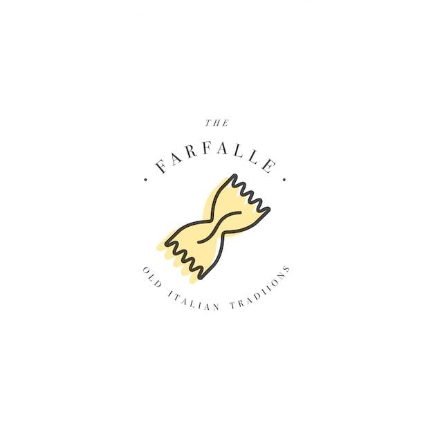 ロゴデザインテンプレートとエンブレムやバッジ。イタリアのパスタ-ファルファッレ。線形ロゴ。 Premiumベクター