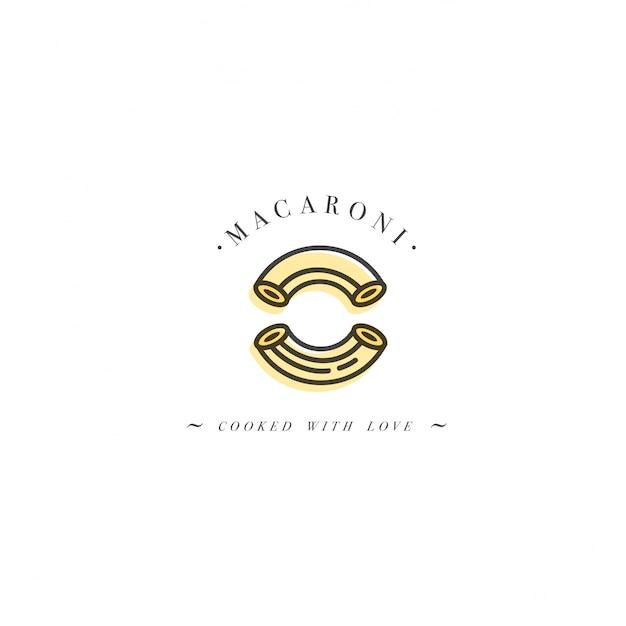 ロゴデザインテンプレートとエンブレムやバッジ。イタリアのパスタ-マカロニ。線形ロゴ。 Premiumベクター