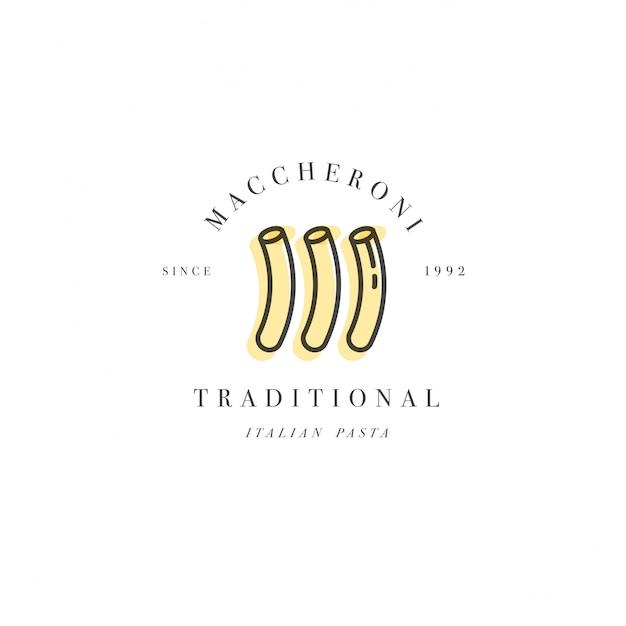 ロゴデザインテンプレートとエンブレムやバッジ。イタリアのパスタ-マッケローニ。線形ロゴ。 Premiumベクター
