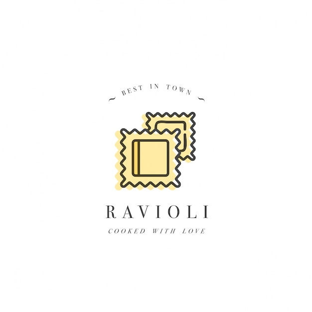 ロゴデザインテンプレートとエンブレムやバッジ。イタリアのパスタ-ラビオリ。線形ロゴ。 Premiumベクター