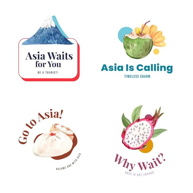 Дизайн логотипа с концепцией путешествия по азии для брендинга и маркетинга акварельной векторной иллюстрации Бесплатные векторы