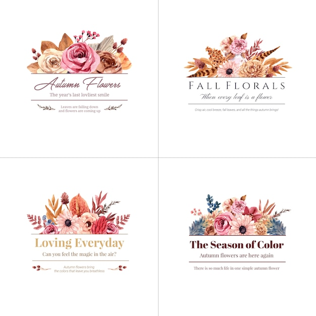 Logo design with autumn flower concept for brand and marketing watercolor illustration. Free Vector