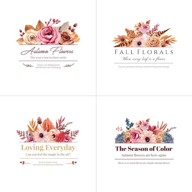 Дизайн логотипа с концепцией осеннего цветка для акварельной иллюстрации бренда и маркетинга. Бесплатные векторы