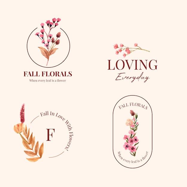 브랜드 및 마케팅 수채화 그림 가을 꽃 개념 로고 디자인. 무료 벡터